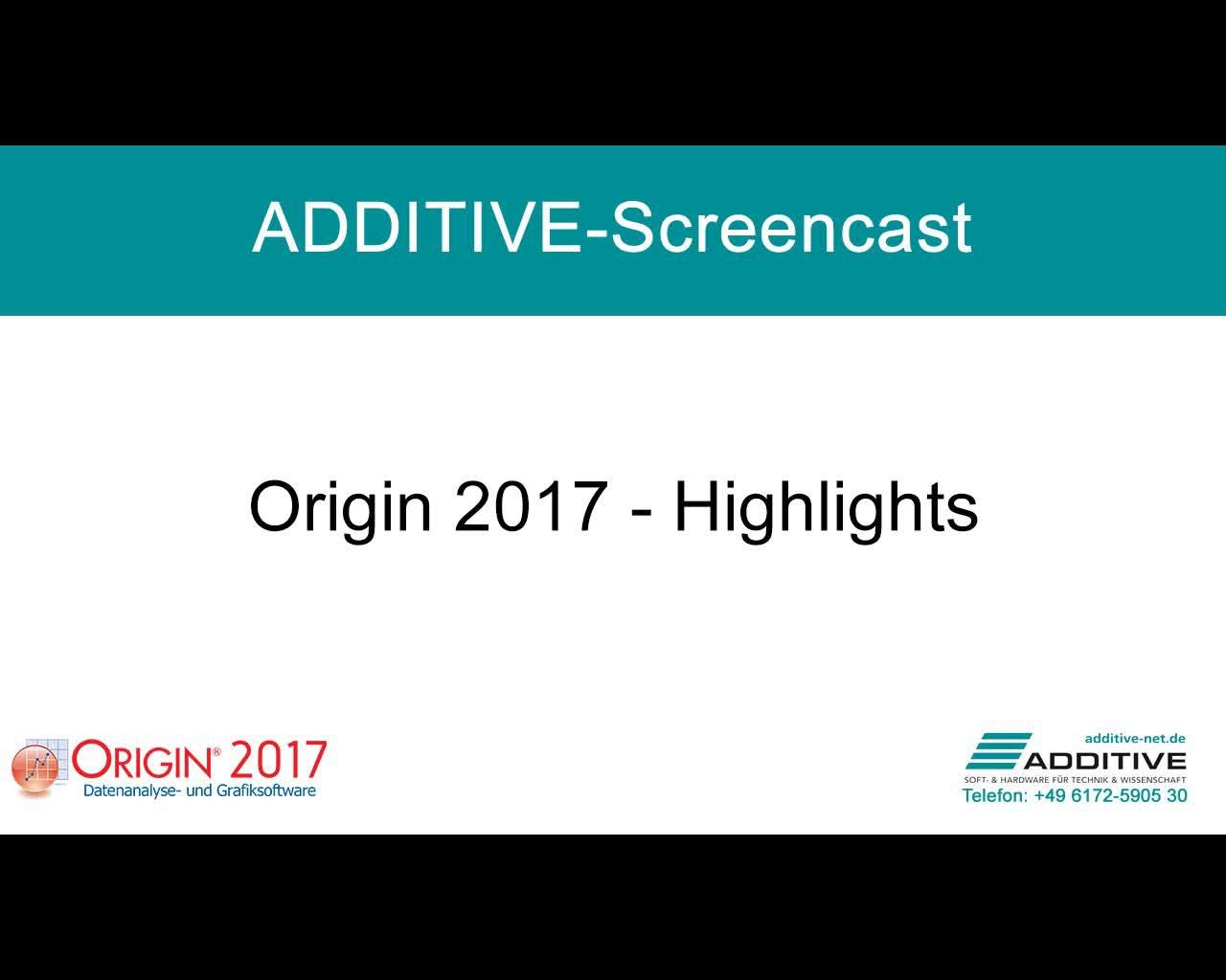 Highlights in Origin 2017