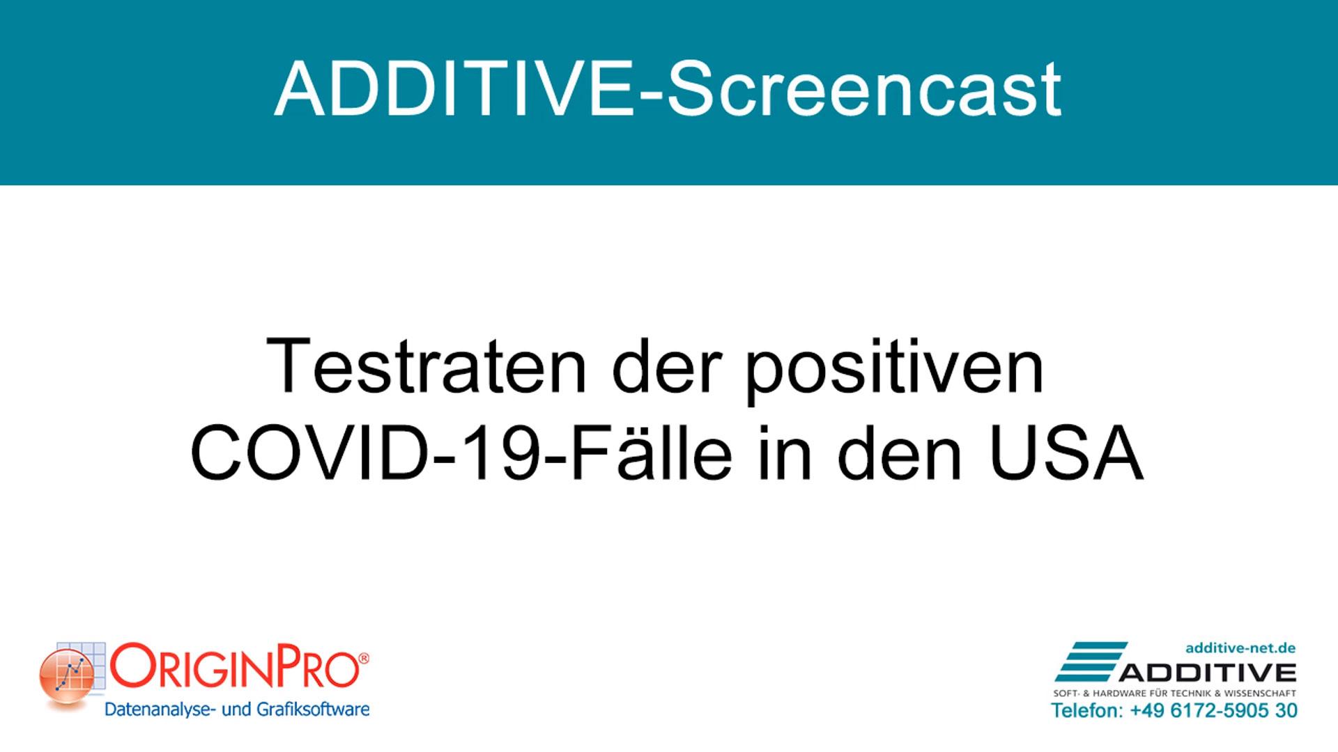 Datenfilter anhand von Testraten positiver COVID-19-Fälle (USA) in OriginPro 2020b