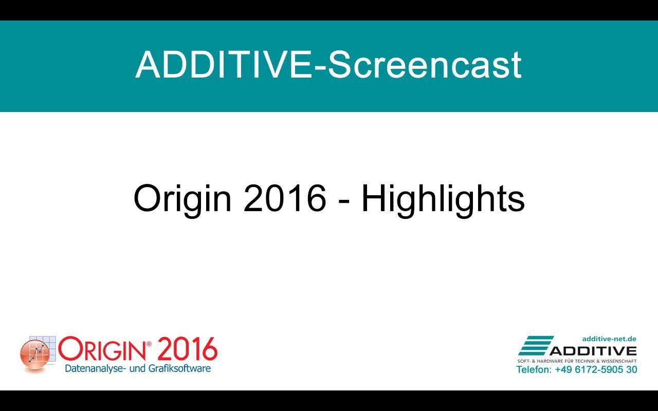 Highlights in Origin 2016