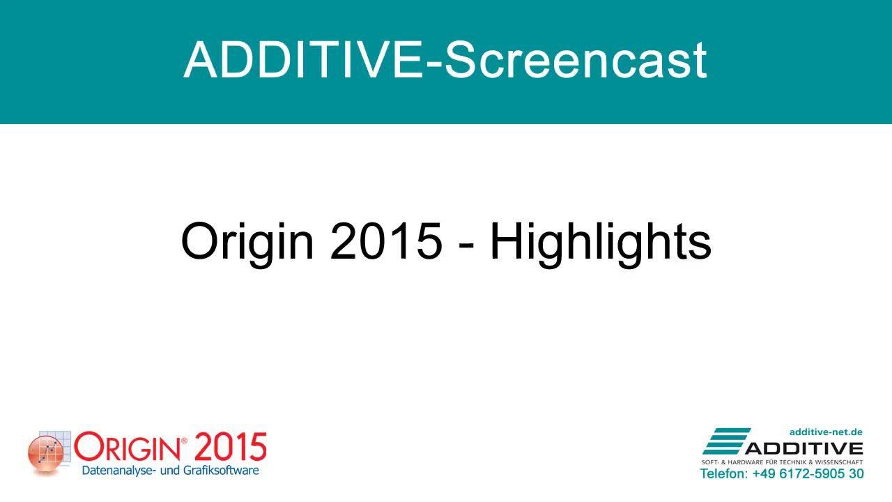 Highlights in Origin 2015