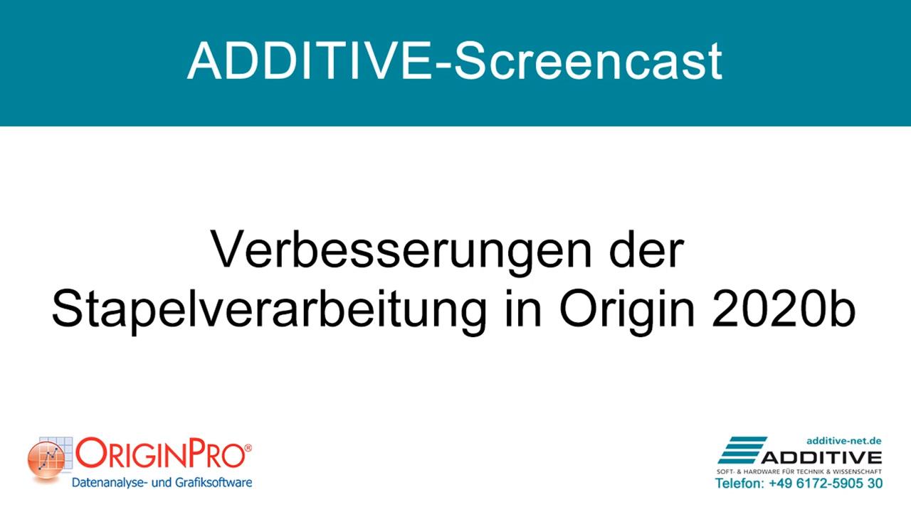Verbesserungen der Stapelverarbeitung in OriginPro 2020b