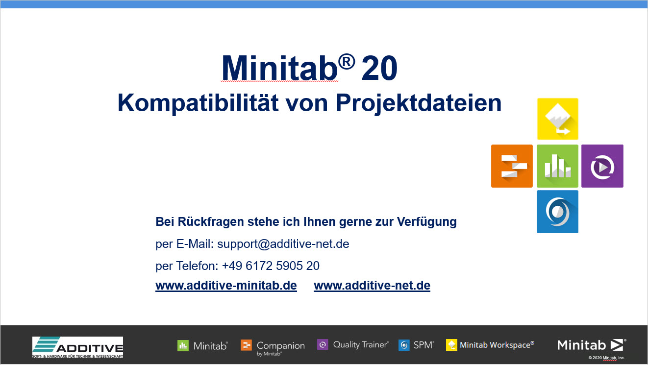 Kompatibilität von Projektdateien in Minitab 20