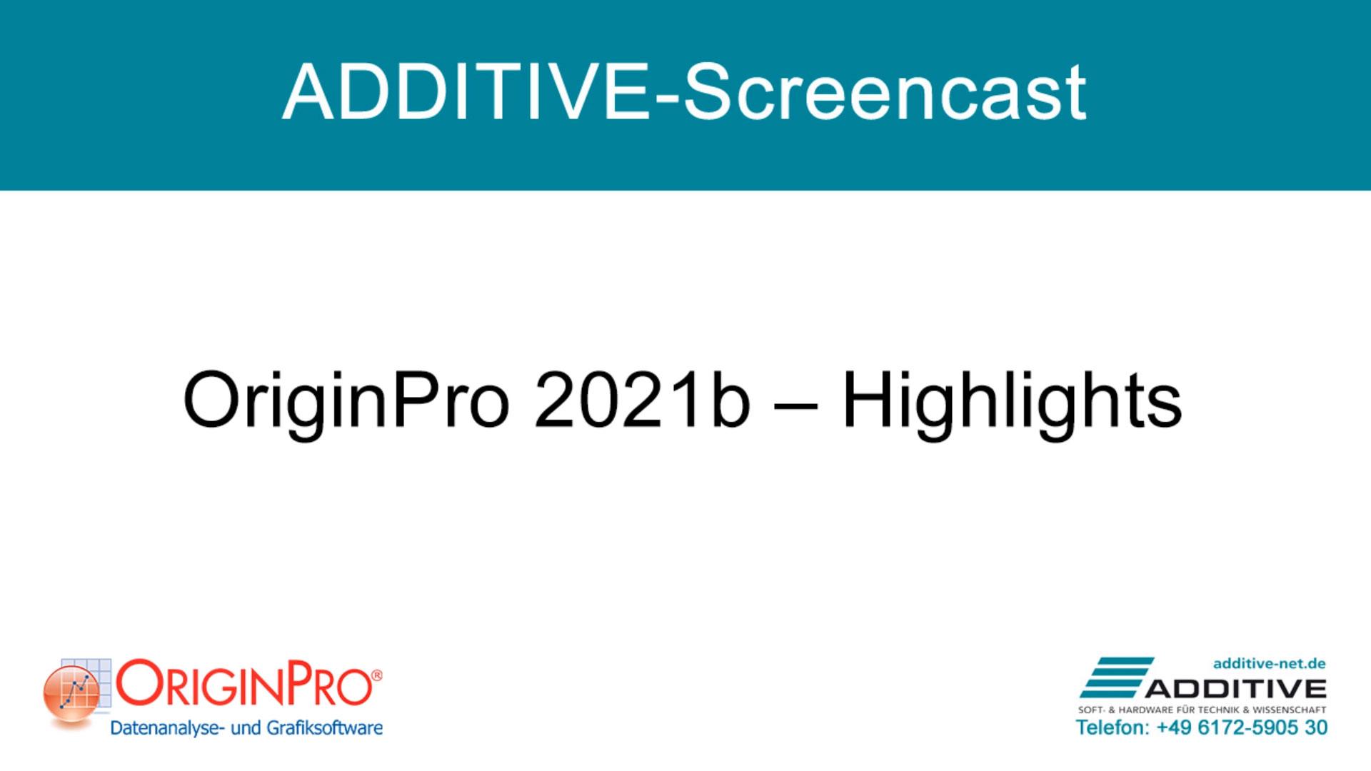 Highlights in OriginPro 2021b